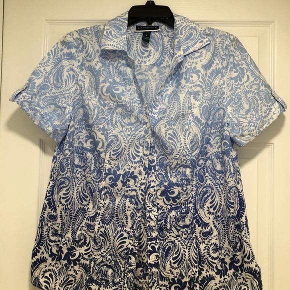 Women's blouse in degrade blue print.